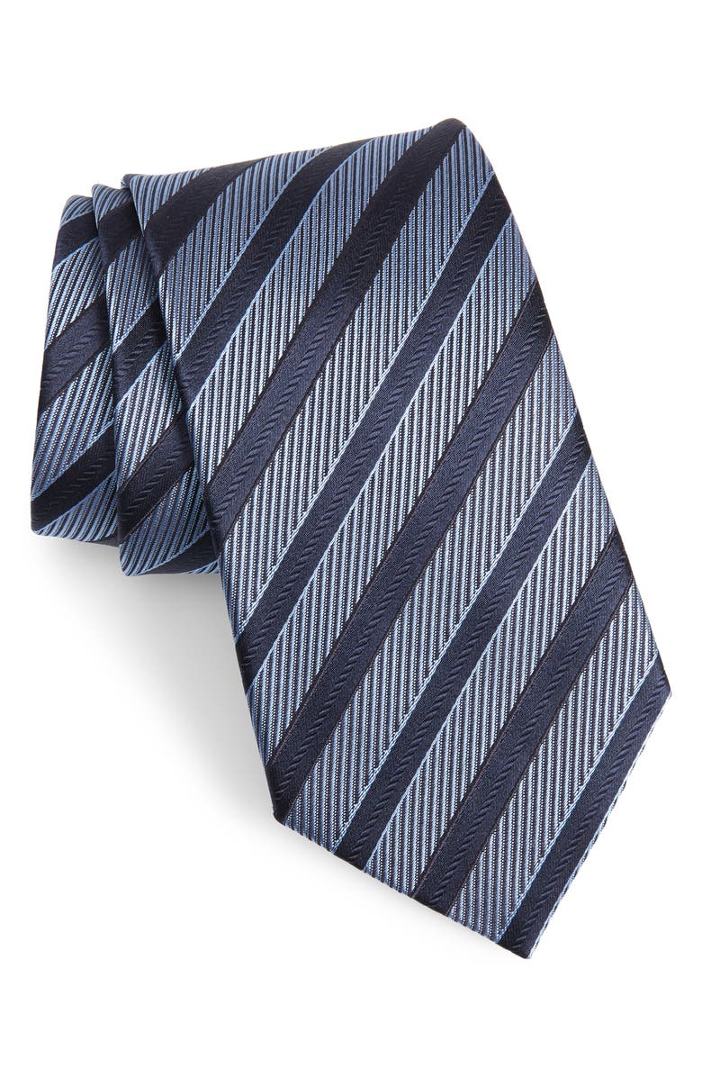 ERMENEGILDO ZEGNA Stripe Silk Tie, Main, color, NAVY