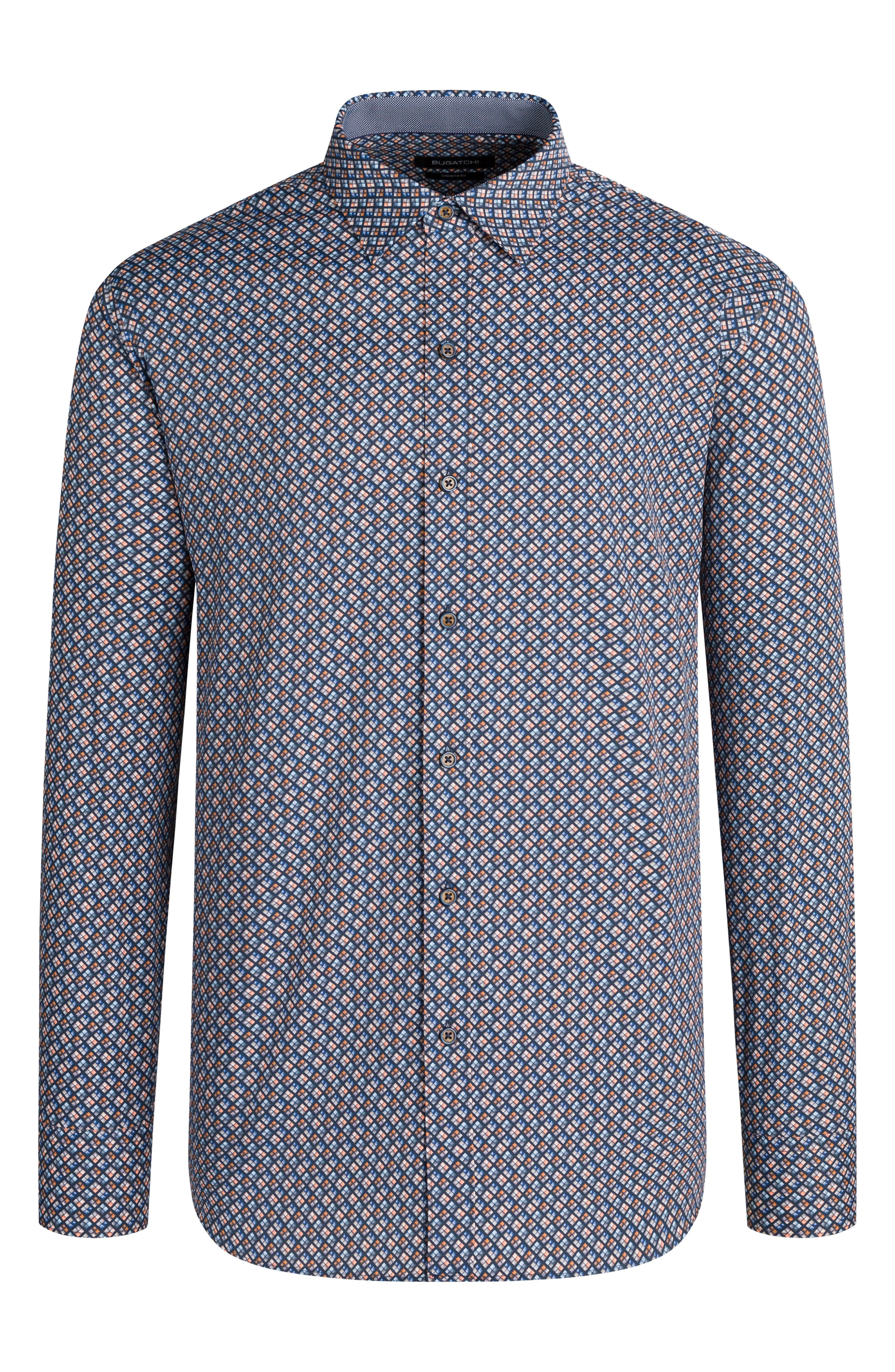 Woven from breathable, moisture-wicking fabric with flexible stretch, this long-sleeve shirt has rich geometric colors and a comfortable, classic fit. Style Name: Bugatchi Classic Fit Geometric Performance Button-Up Shirt. Style Number: 6152046. Available in stores.