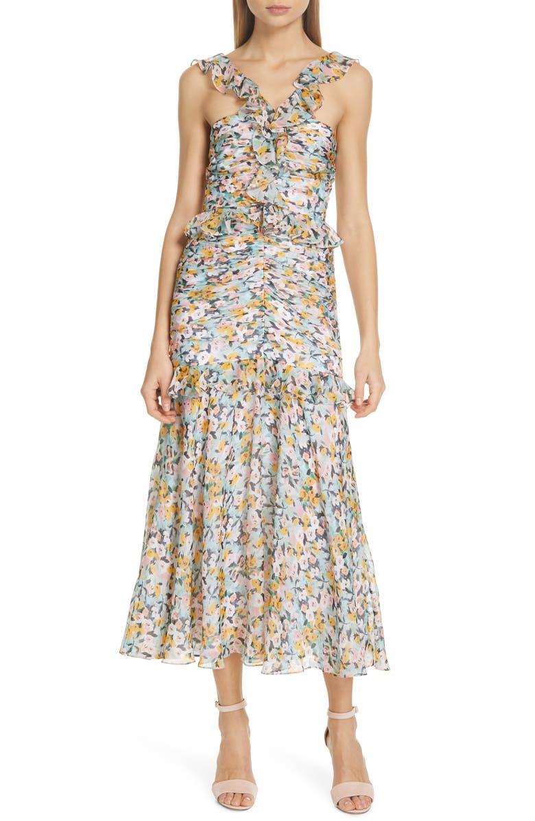 AMUR Elyse Floral Print Silk Midi Dress, Main, color, AQUA