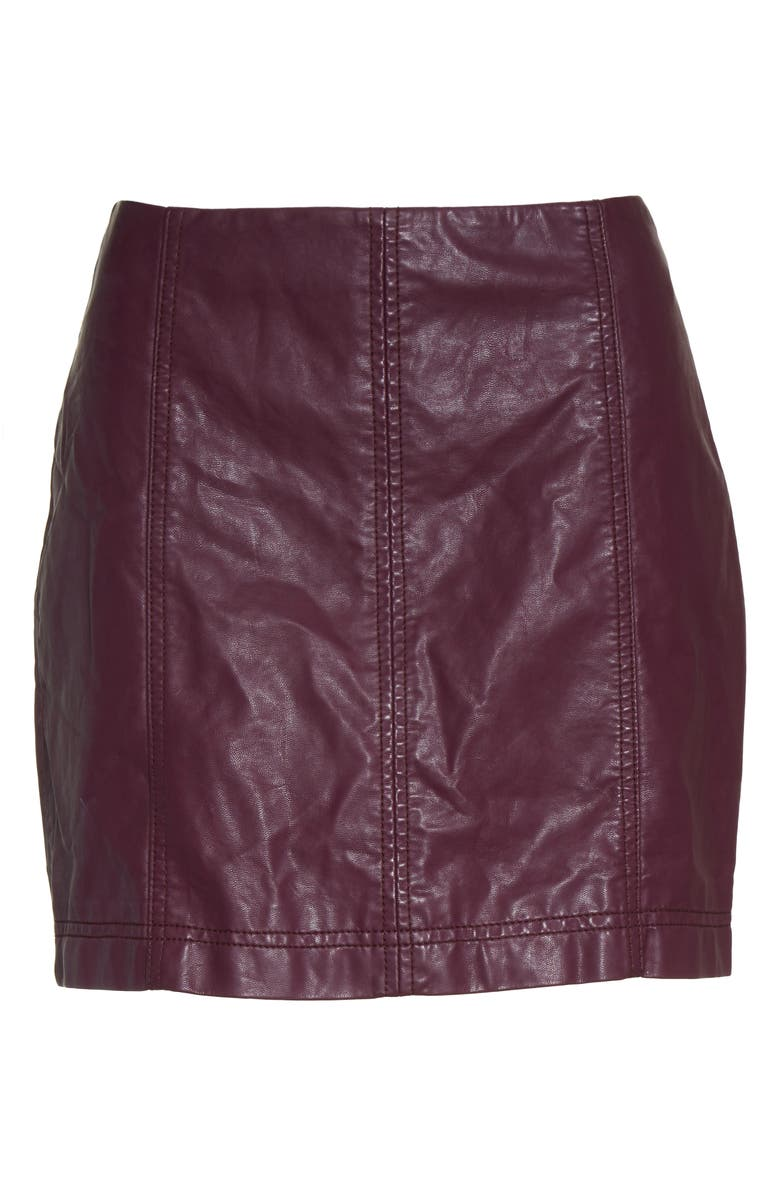 FREE PEOPLE Modern Femme Faux Leather Miniskirt, Main, color, BERRY