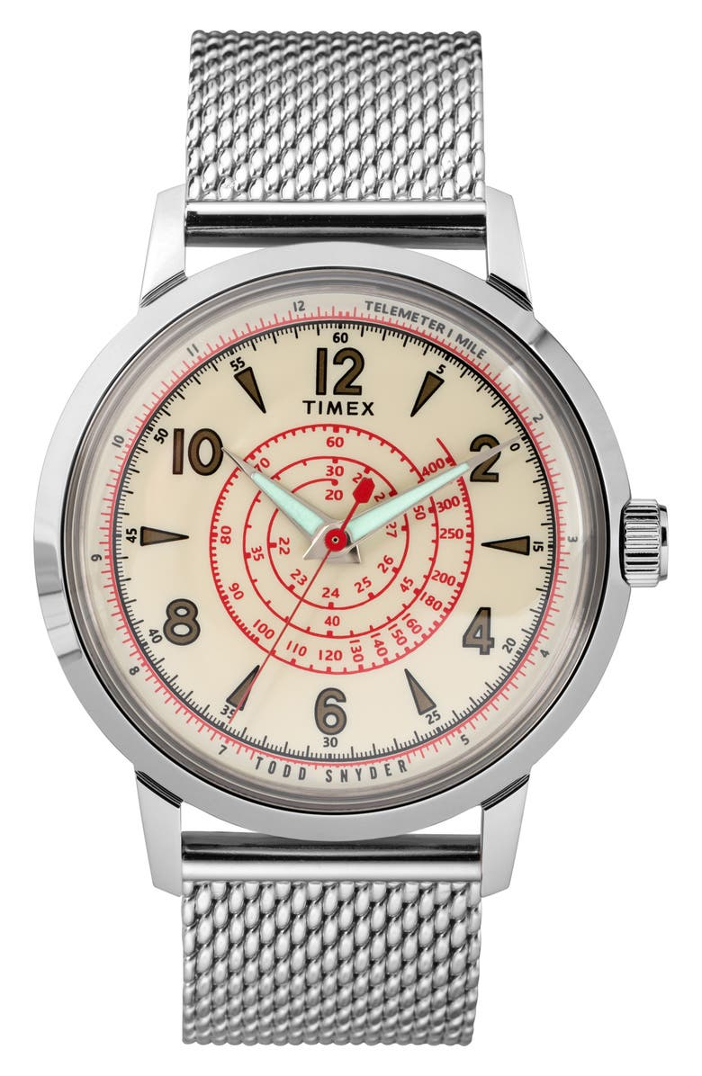 TIMEX<SUP>®</SUP> x Todd Snyder Beekman Mesh Strap Watch, 40mm, Main, color, SILVER/ WHITE