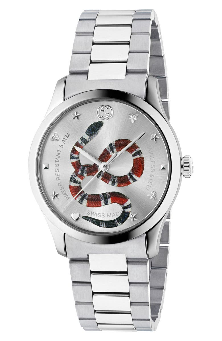 GUCCI G-Timeless Bracelet Watch, 38mm, Main, color, SILVER