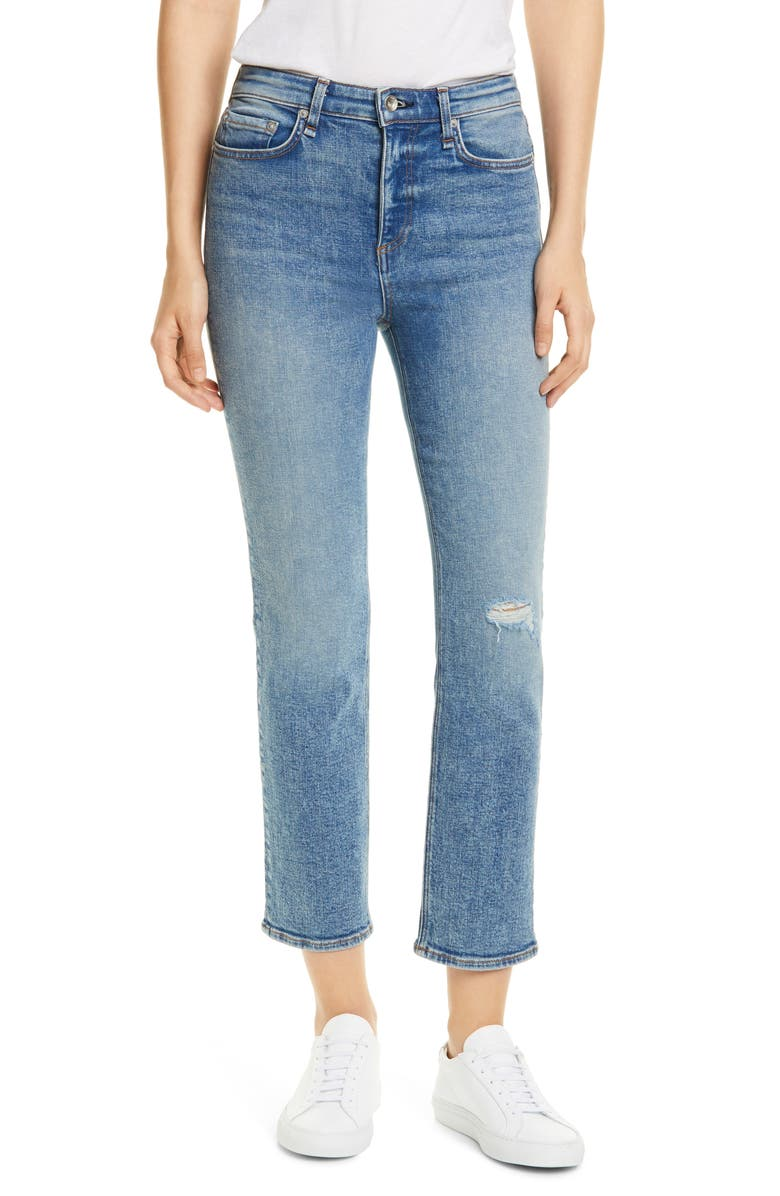 RAG & BONE Nina High Waist Ankle Straight Leg Jeans, Main, color, 420
