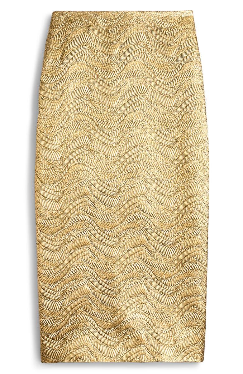 J.CREW Metallic Leaf Jacquard Pencil Skirt, Main, color, 700