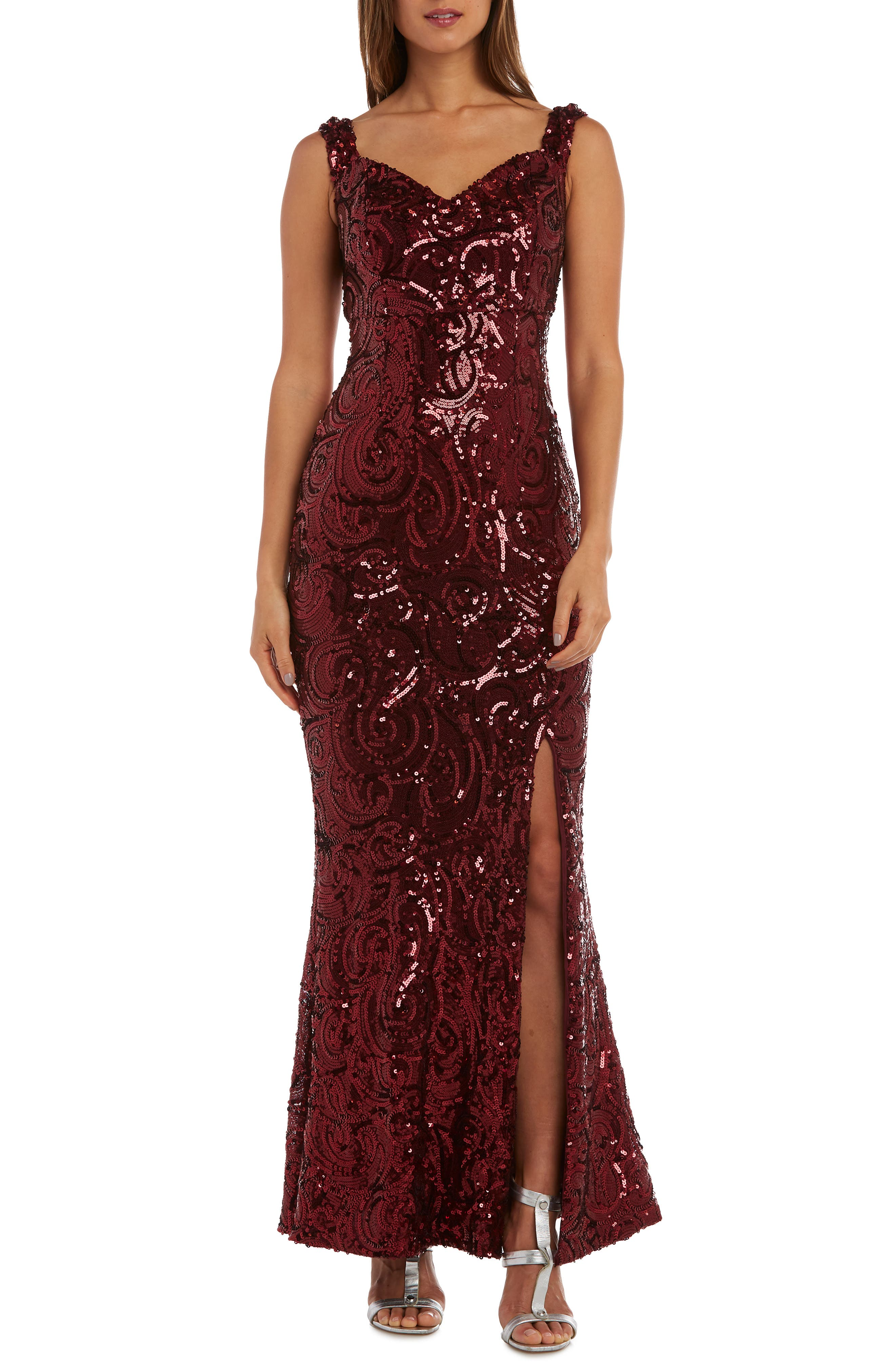 Morgan & Co. Convertible Neckline Sequin Swirl Trumpet Gown, Red