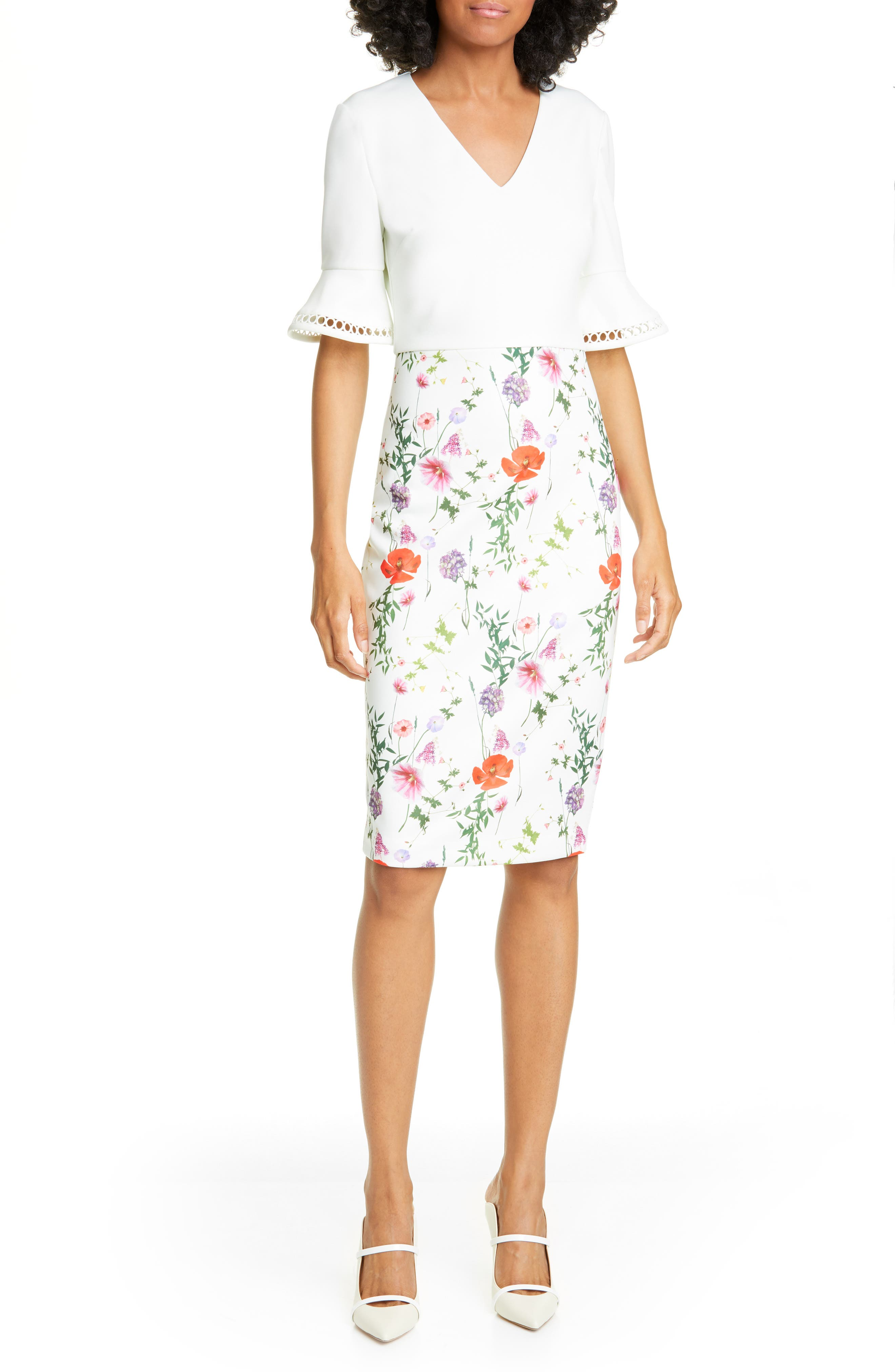 Ted Baker London Hedgerow Flounce Sleeve Body-Con Dress, Ivory