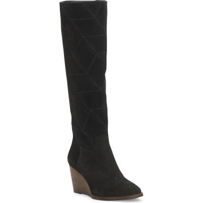 Lucky Brand Preeka Knee High Wedge Boot, Black