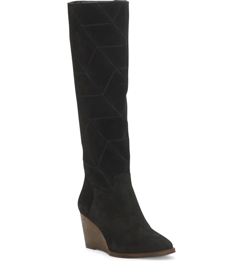 LUCKY BRAND Preeka Knee High Wedge Boot, Main, color, BLACK SUEDE
