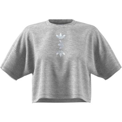 Adidas Large Logo Crop Tee, Grey