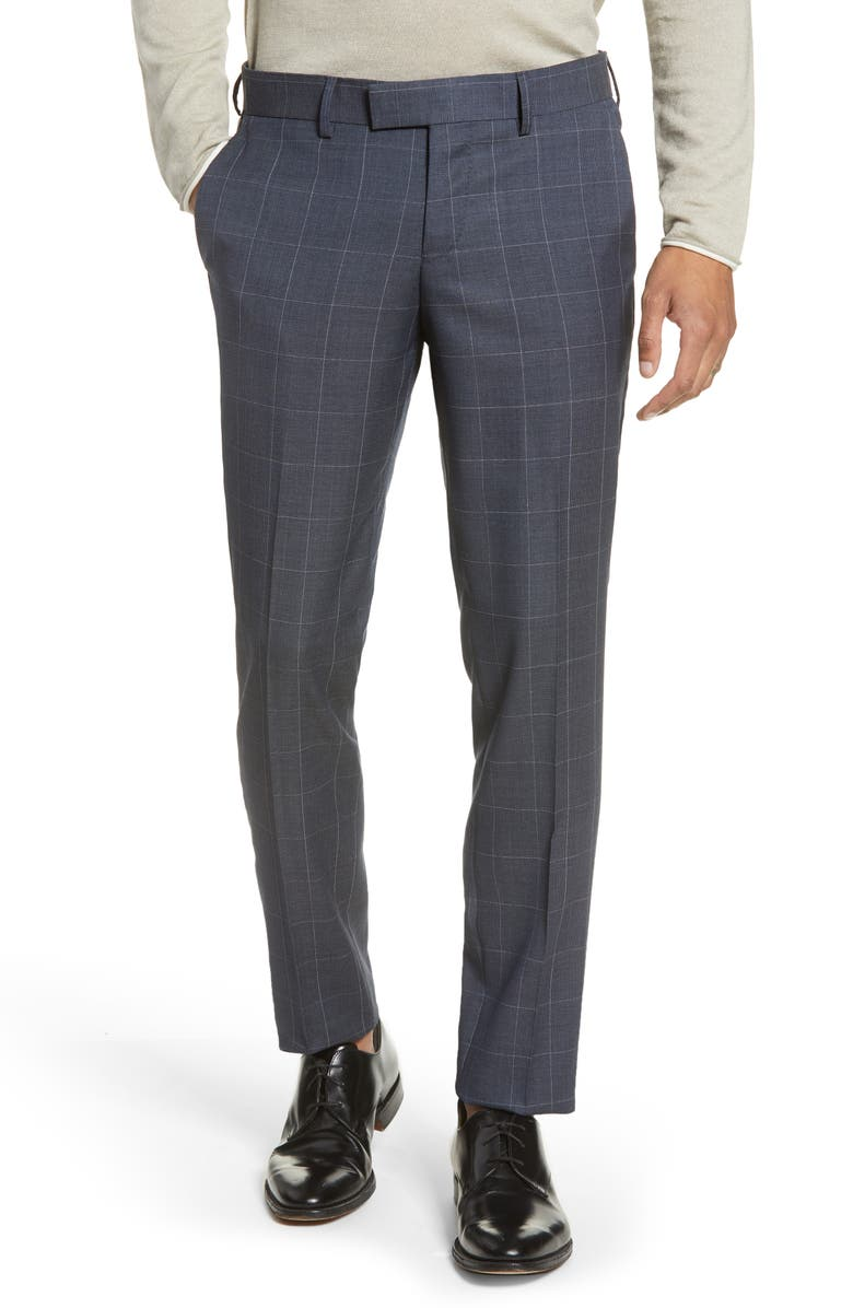 TIGER OF SWEDEN Flat Front Windowpane Wool Dress Pants, Main, color, 435