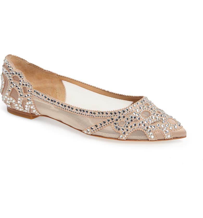 BADGLEY MISCHKA COLLECTION Badgley Mischka Gigi Crystal Pointy Toe Flat, Main, color, LATTE SUEDE