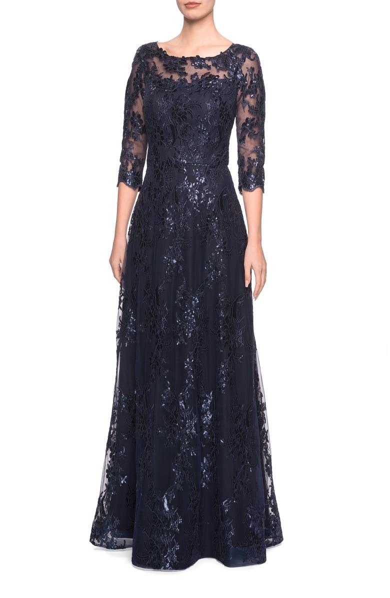 LA FEMME Shimmer Sequin Lace A-Line Gown, Main, color, NAVY