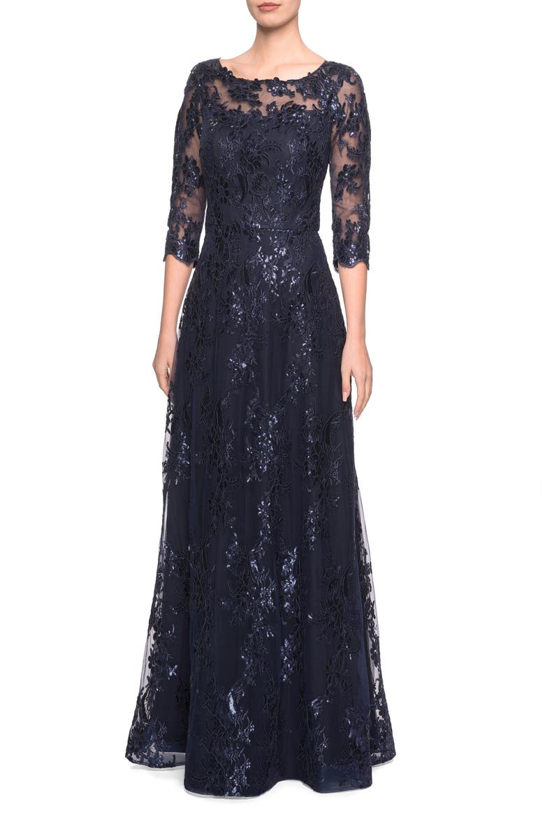 LA FEMME Shimmer Sequin Lace Evening Dress, Main, color, NAVY