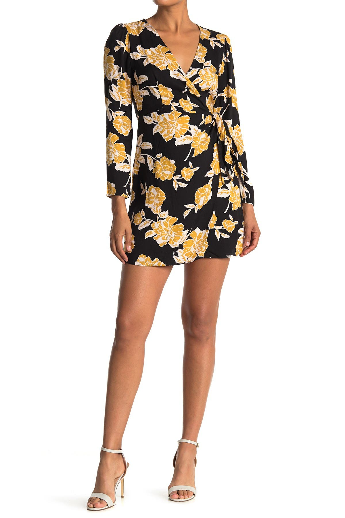 Image of Lush Floral Long Sleeve Wrap Mini Dress