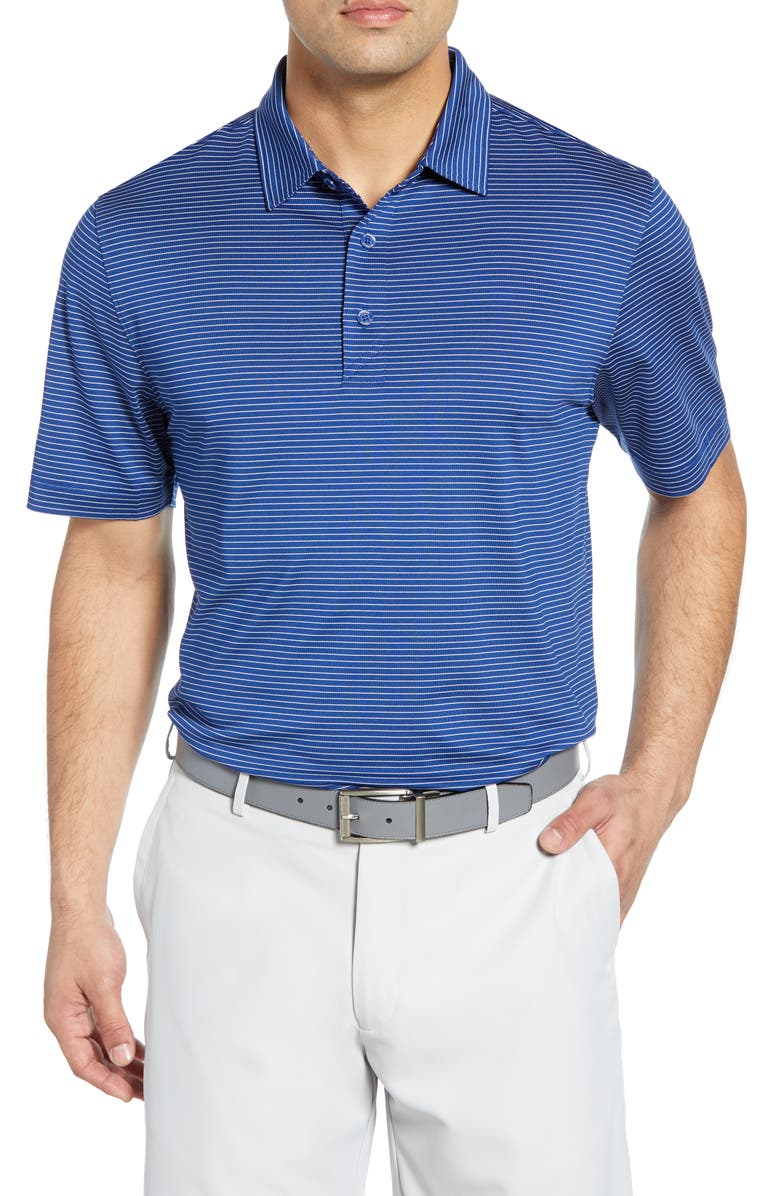CUTTER & BUCK Forge Classic Fit Pencil Stripe Polo, Main, color, TOUR BLUE