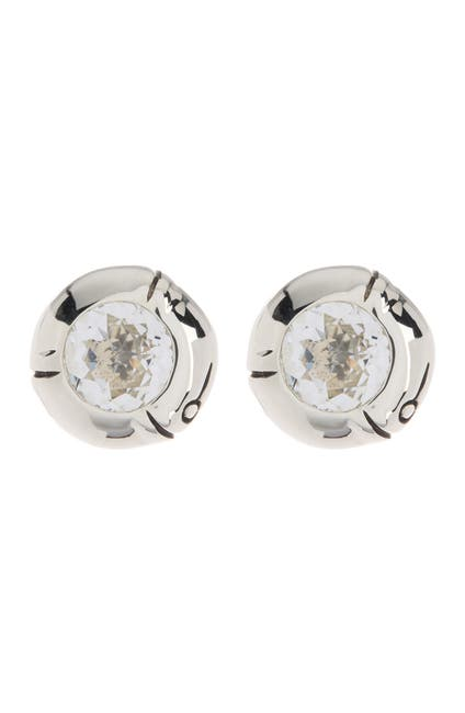 Image of JOHN HARDY Sterling Silver Bamboo Small Round White Topaz Stud Earrings