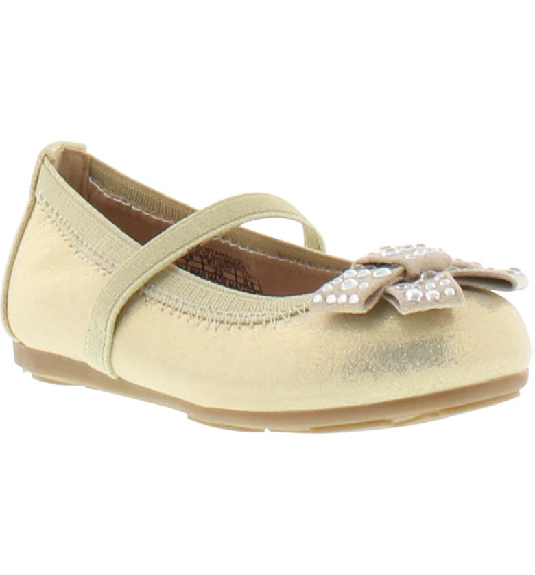 STUART WEITZMAN Fannie Stardust Crystal Bow Mary Jane Flat, Main, color, LIGHT GOLD SHIMMER