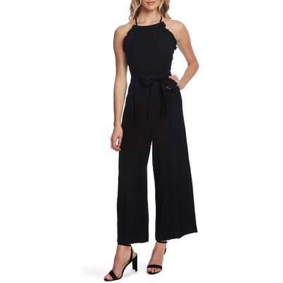 Cece Sleeveless Belted Ruffle Jumpsuit, Black