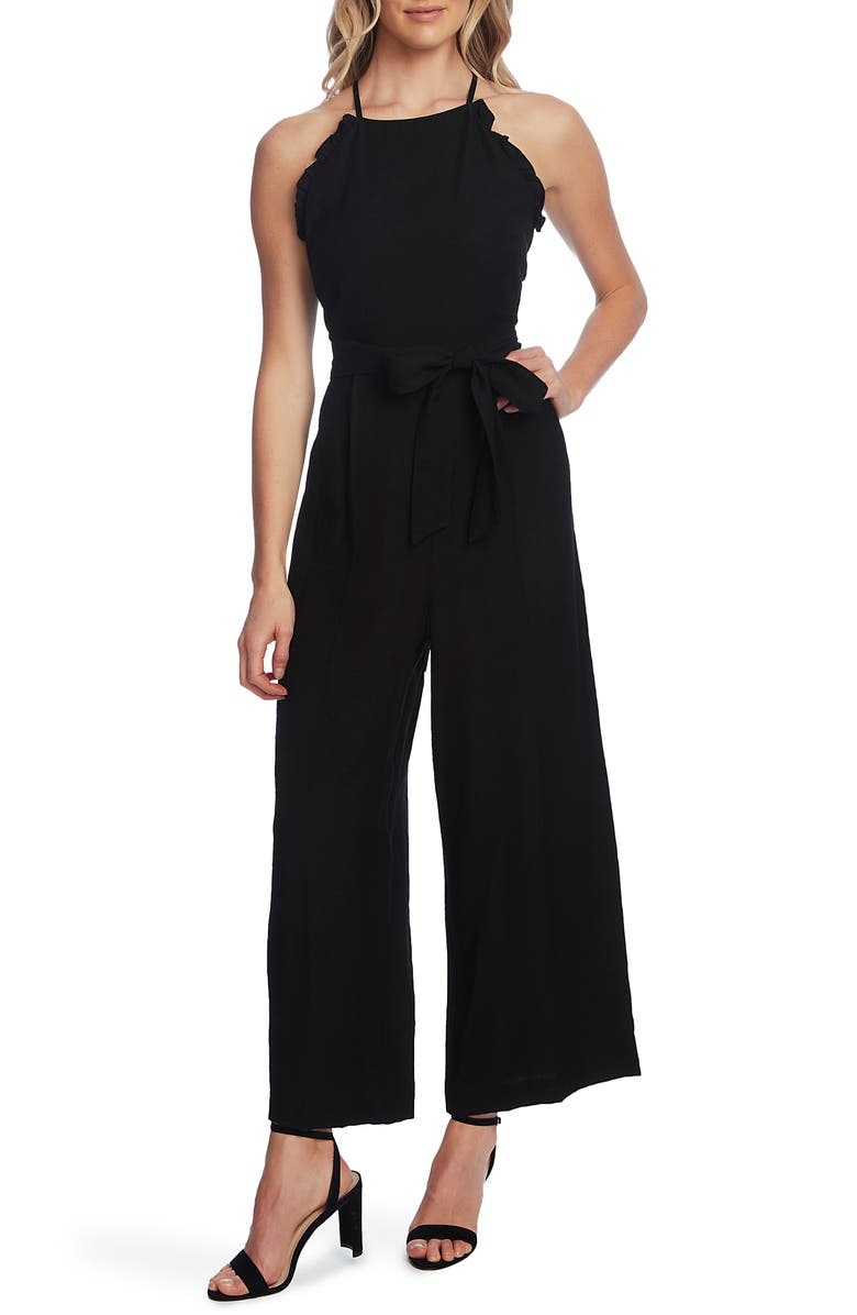 CECE Sleeveless Belted Ruffle Jumpsuit, Main, color, RICH BLACK