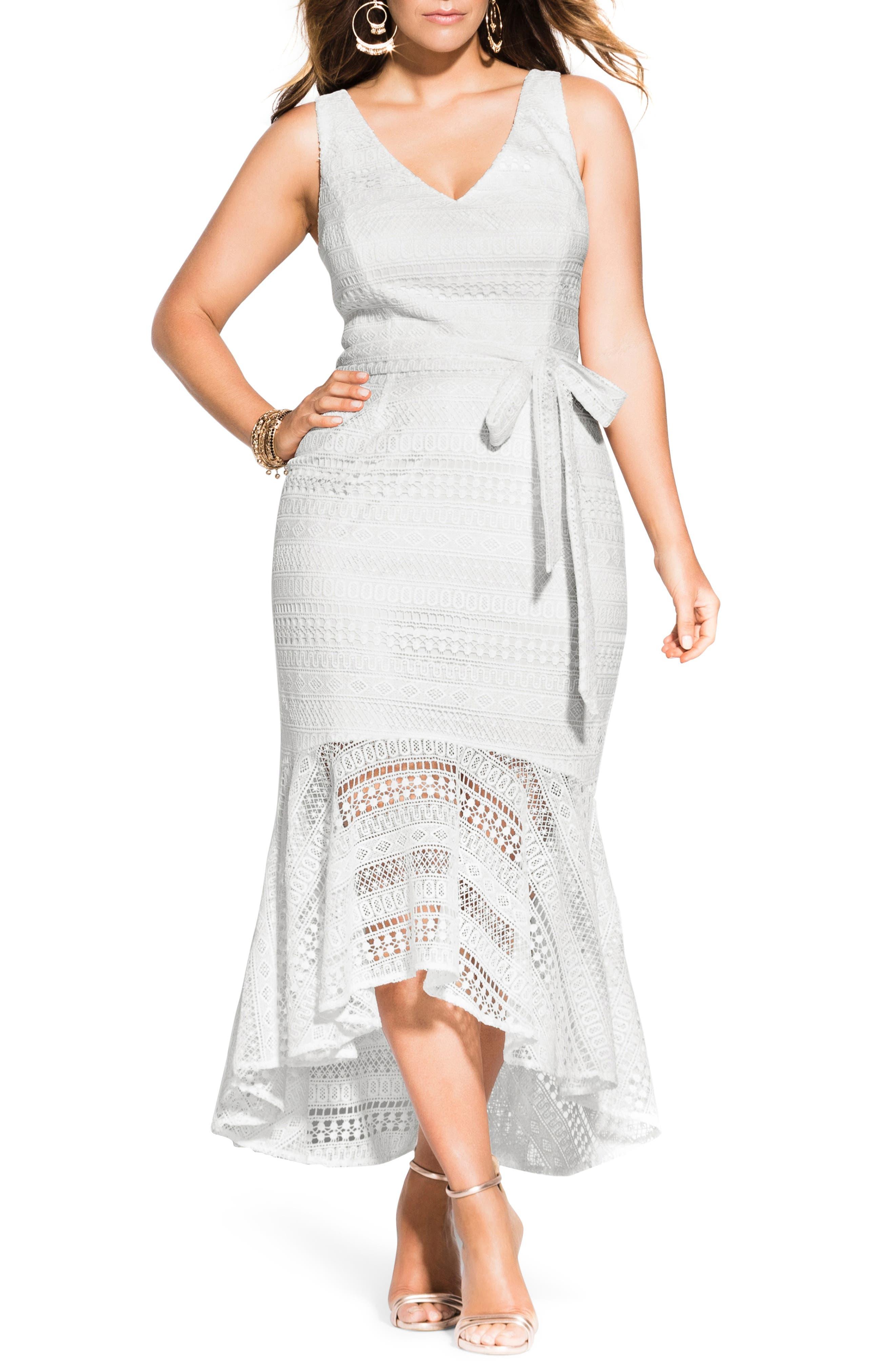 Plus Size City Chic Simmer Lace Maxi Dress, White