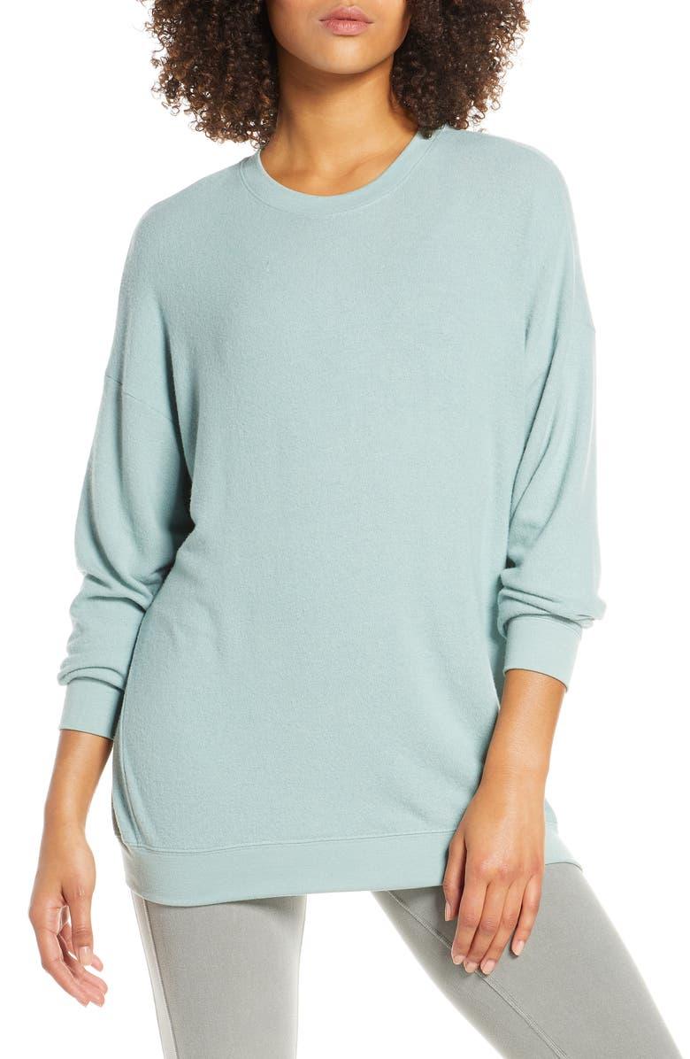 ALO Soho Crewneck Pullover, Main, color, LAUREL HEATHER