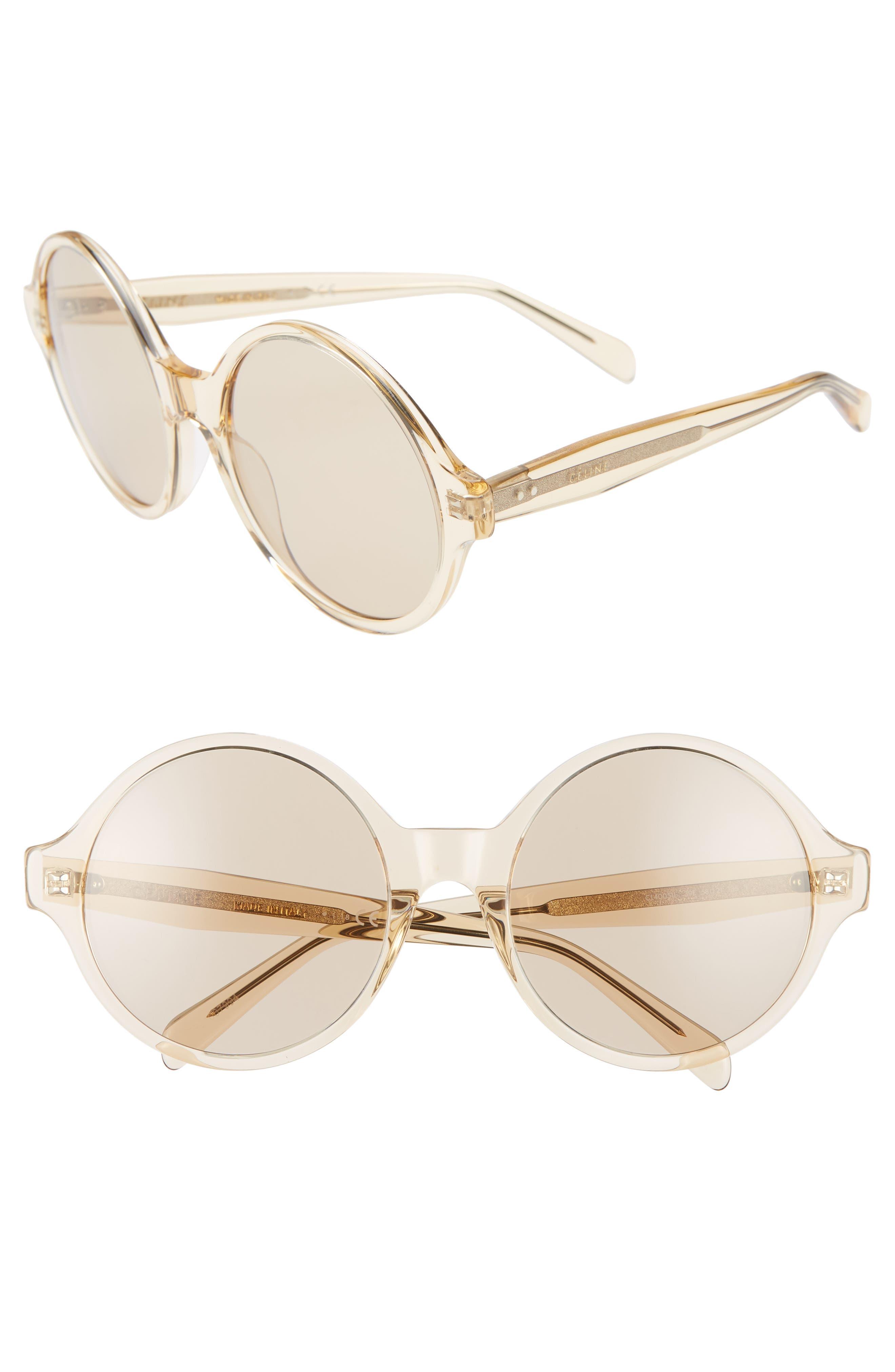 ,                             58mm Round Sunglasses,                             Main thumbnail 1, color,                             TRANSPARENT OCHRE/ LIGHT BROWN