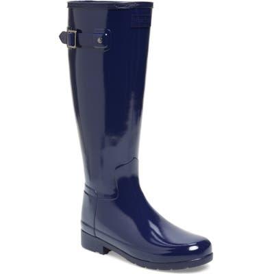 Hunter Original Refined Gloss Tall Waterproof Rain Boot, Blue