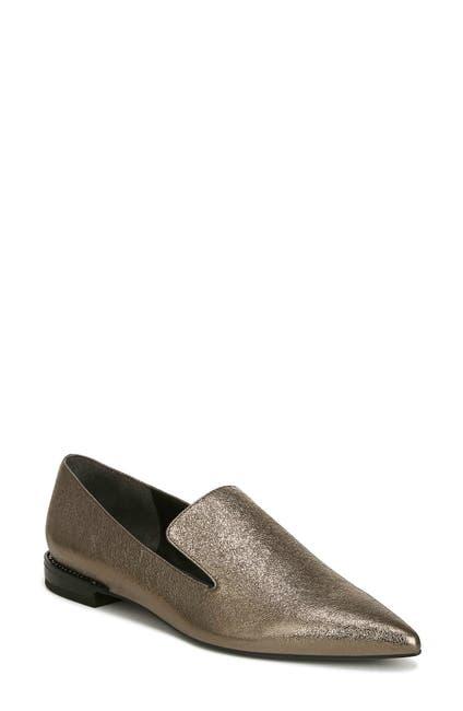 Image of Franco Sarto Topaz Leather Pointed Toe Metallic Loafer