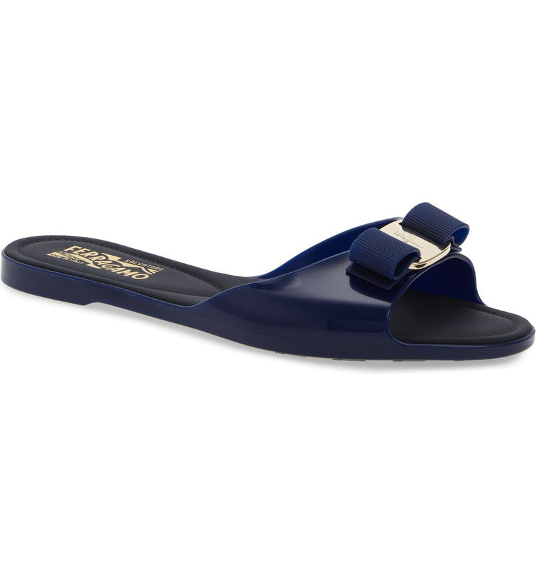 SALVATORE FERRAGAMO Cirella Bow Slide Sandal, Main, color, NAVY