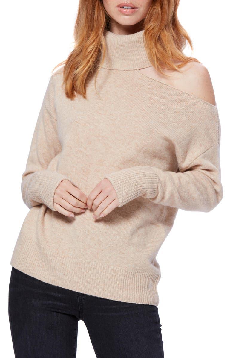 PAIGE Raundi Cutout Shoulder Sweater, Main, color, CAMEL