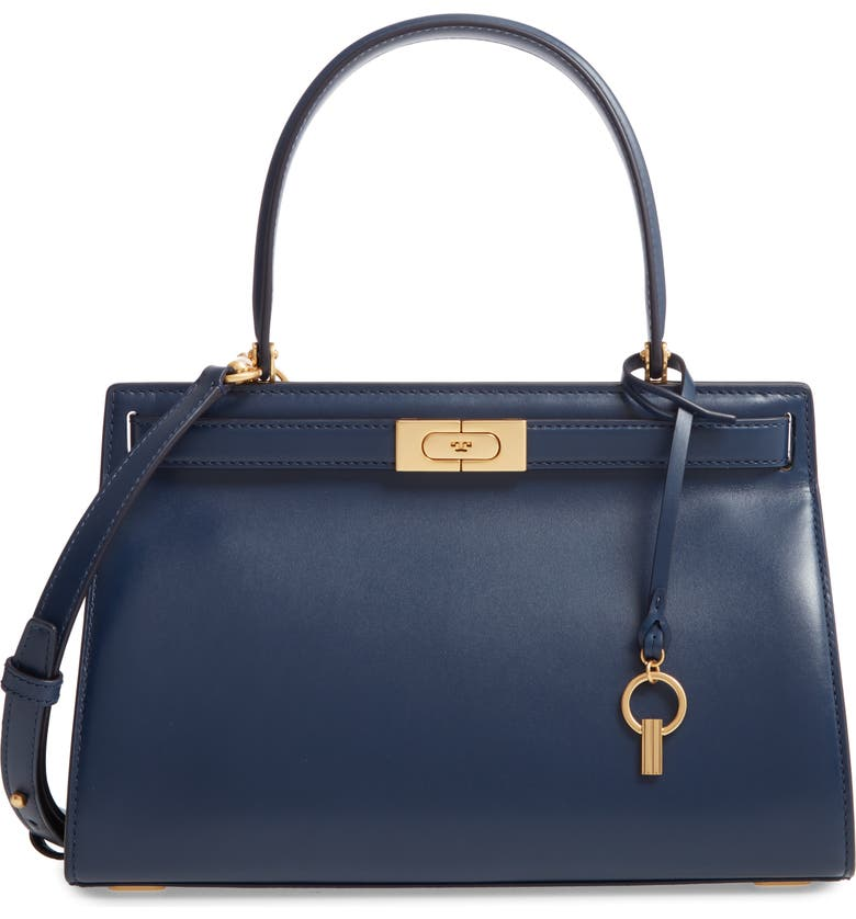TORY BURCH Small Lee Radziwill Leather Bag, Main, color, ROYAL NAVY