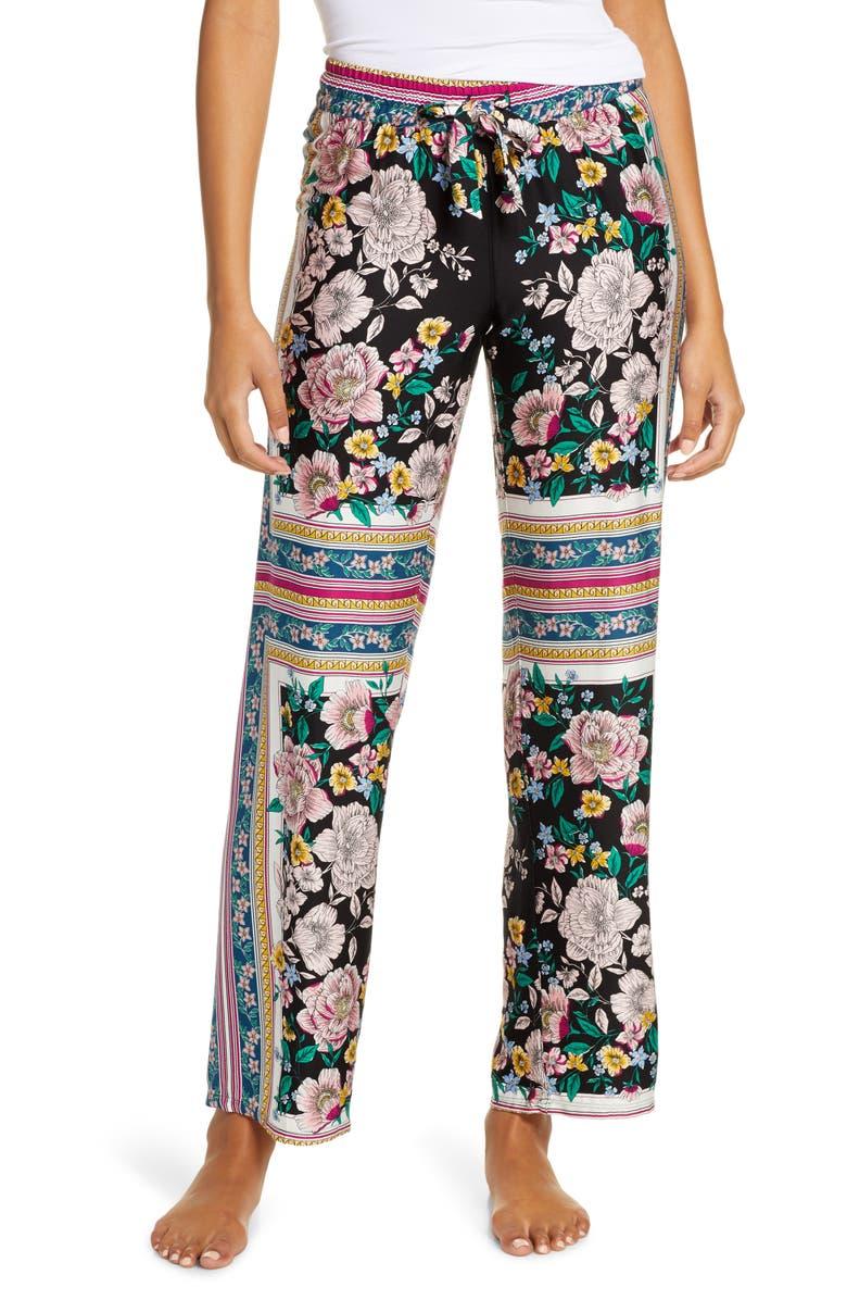 PJ SALVAGE Floral Print Pajama Pants, Main, color, BLACK