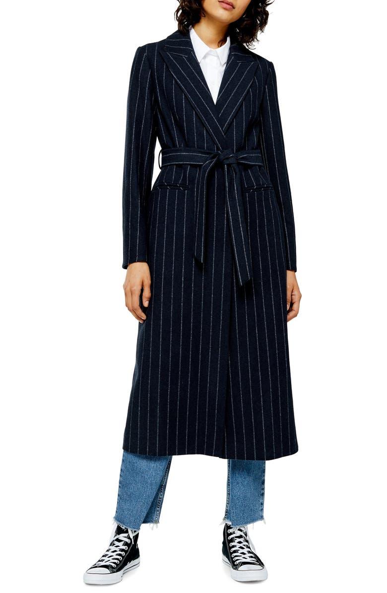 TOPSHOP Bunty Stripe Coat, Main, color, NAVY BLUE