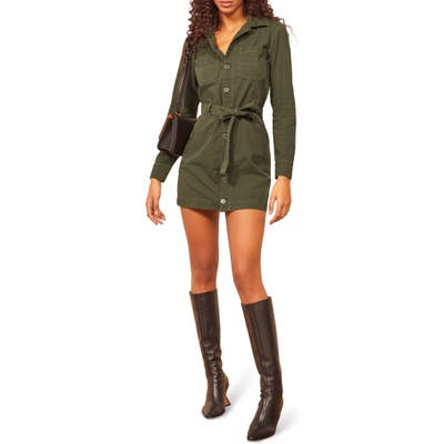 Reformation Lydia Utility Long Sleeve Organic Cotton Minidress, Green