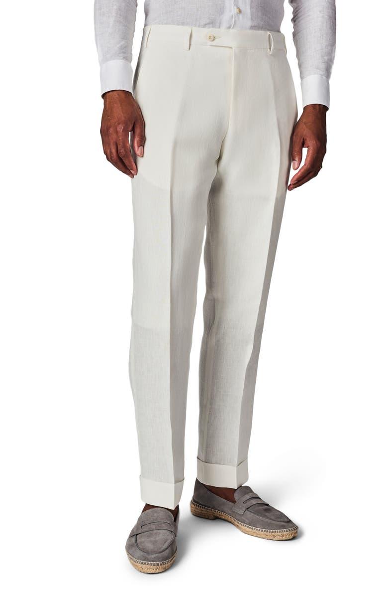 ZANELLA Parker Flat Front Solid Linen Trousers, Main, color, WHITE