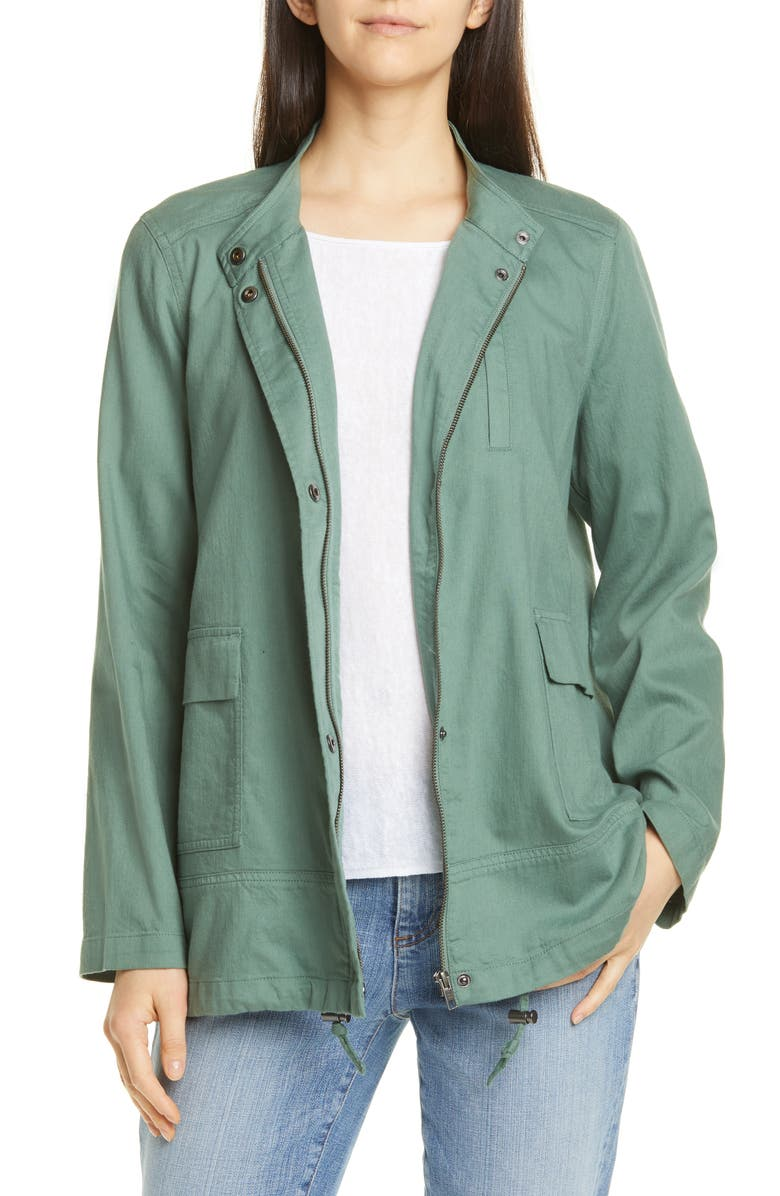 EILEEN FISHER Stand Collar Organic Cotton Jacket, Main, color, NORI