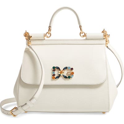 Dolce & gabbana Miss Sicily St. Iguana Top Handle Leather Satchel - White