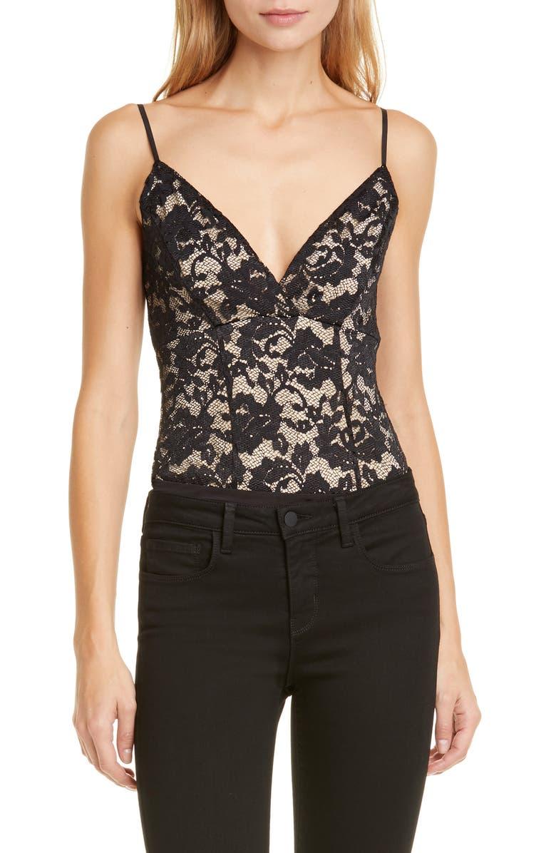 L'AGENCE Laurette Lace Bodysuit, Main, color, 001