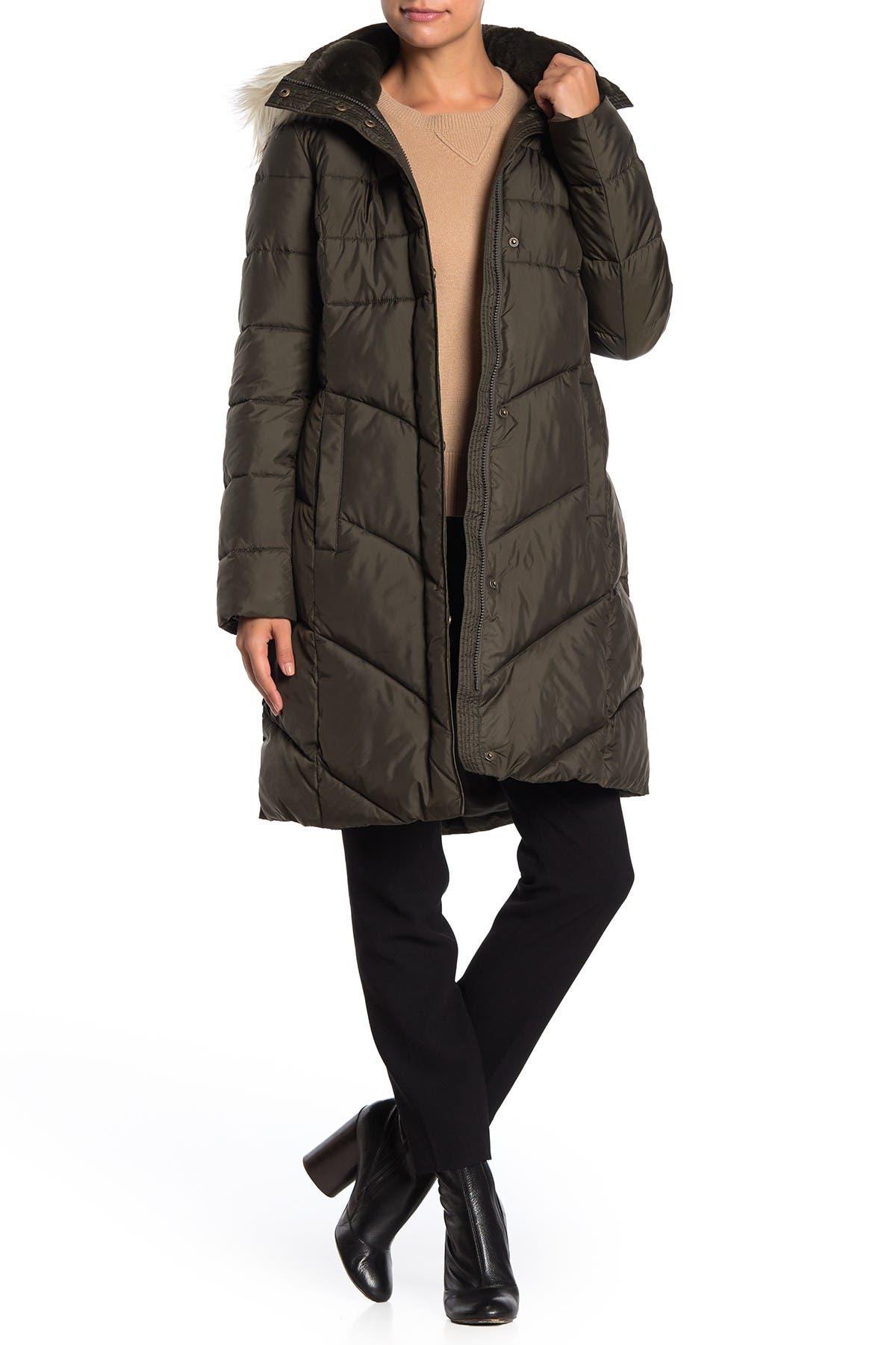 Image of Larry Levine Faux Fur Trim Hooded Coat