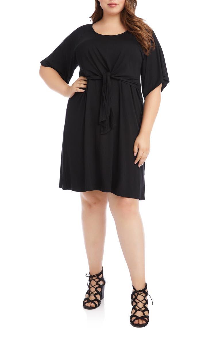 KAREN KANE Tie Front A-Line Dress, Main, color, BLACK