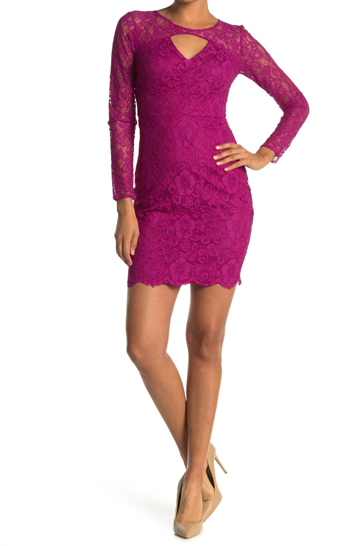 Image of GUESS Keyhole Long Sleeve Lace Sheath Dress