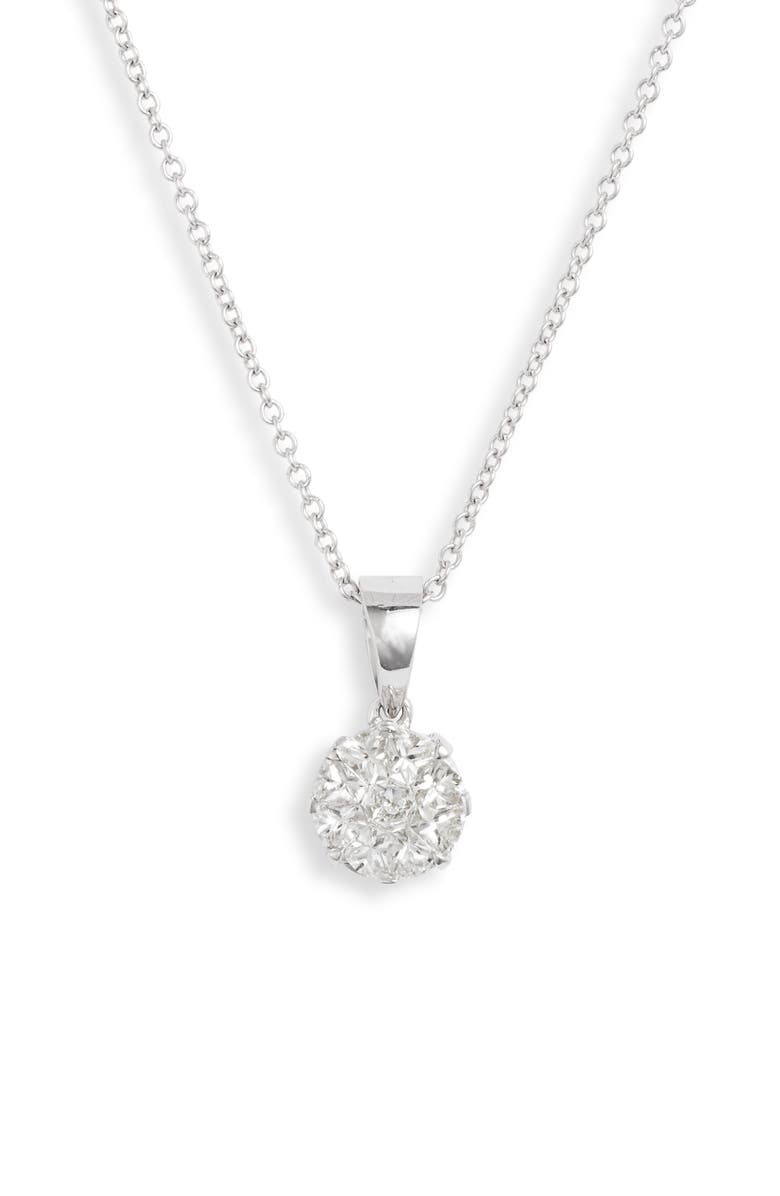 BONY LEVY Mika Pavé Diamond Circle Pendant Necklace, Main, color, DIAMOND/ WHITE GOLD