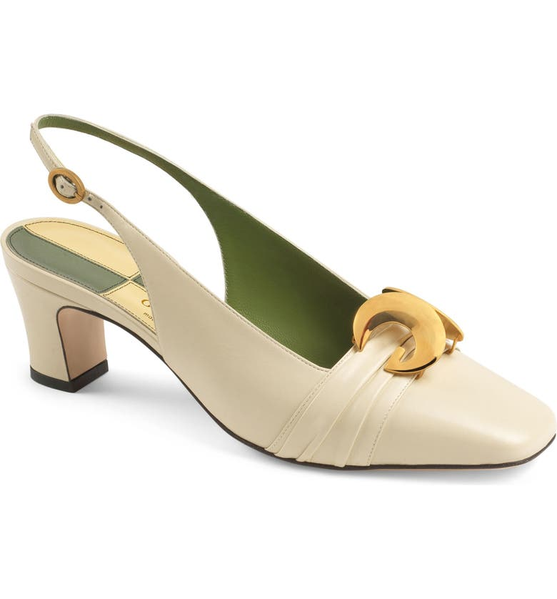 GUCCI Usagi Square Toe Slingback Pump, Main, color, VINTAGE WHITE