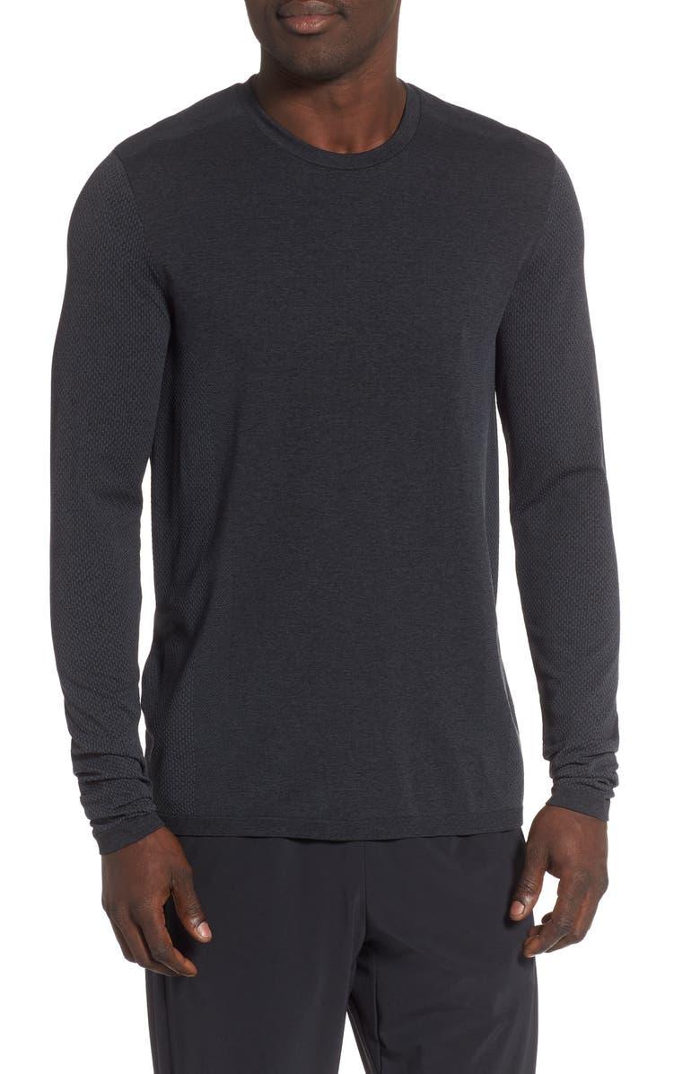ZELLA Seamless Performance T-Shirt, Main, color, BLACK OXIDE MELANGE