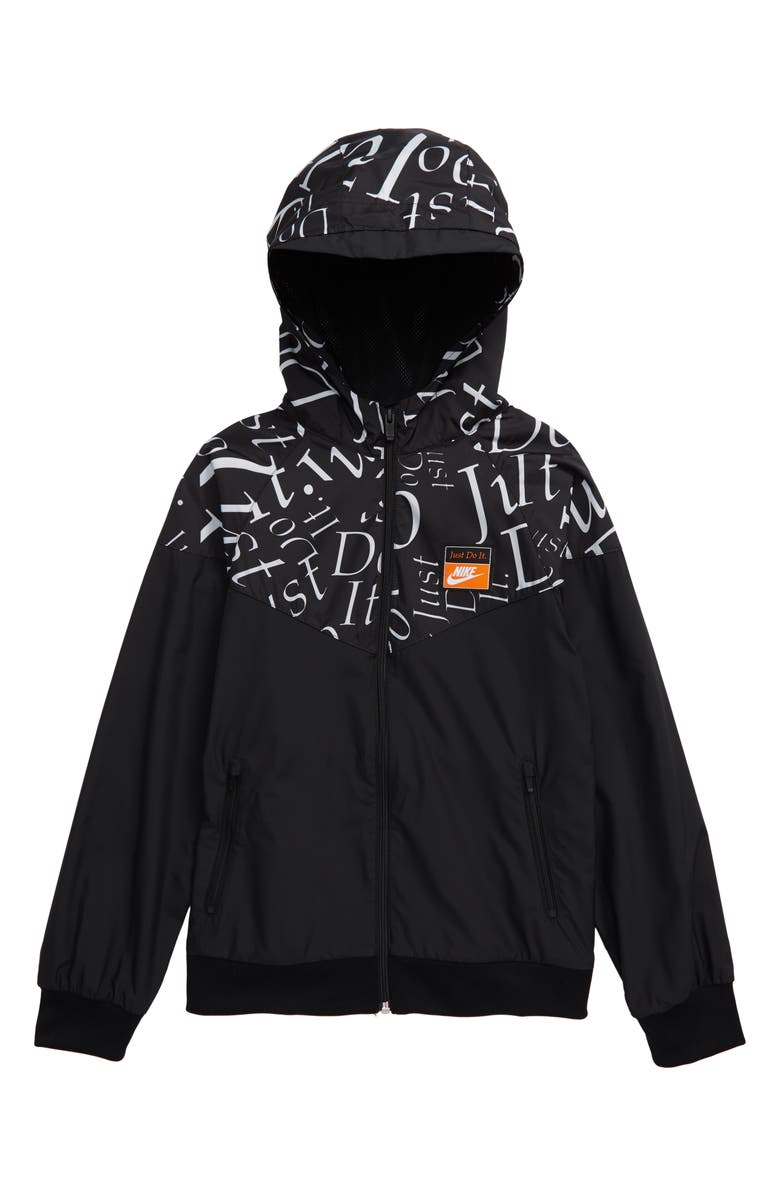 NIKE Sportswear Just Do It Water Resistant Hooded Windrunner Jacket, Main, color, 010