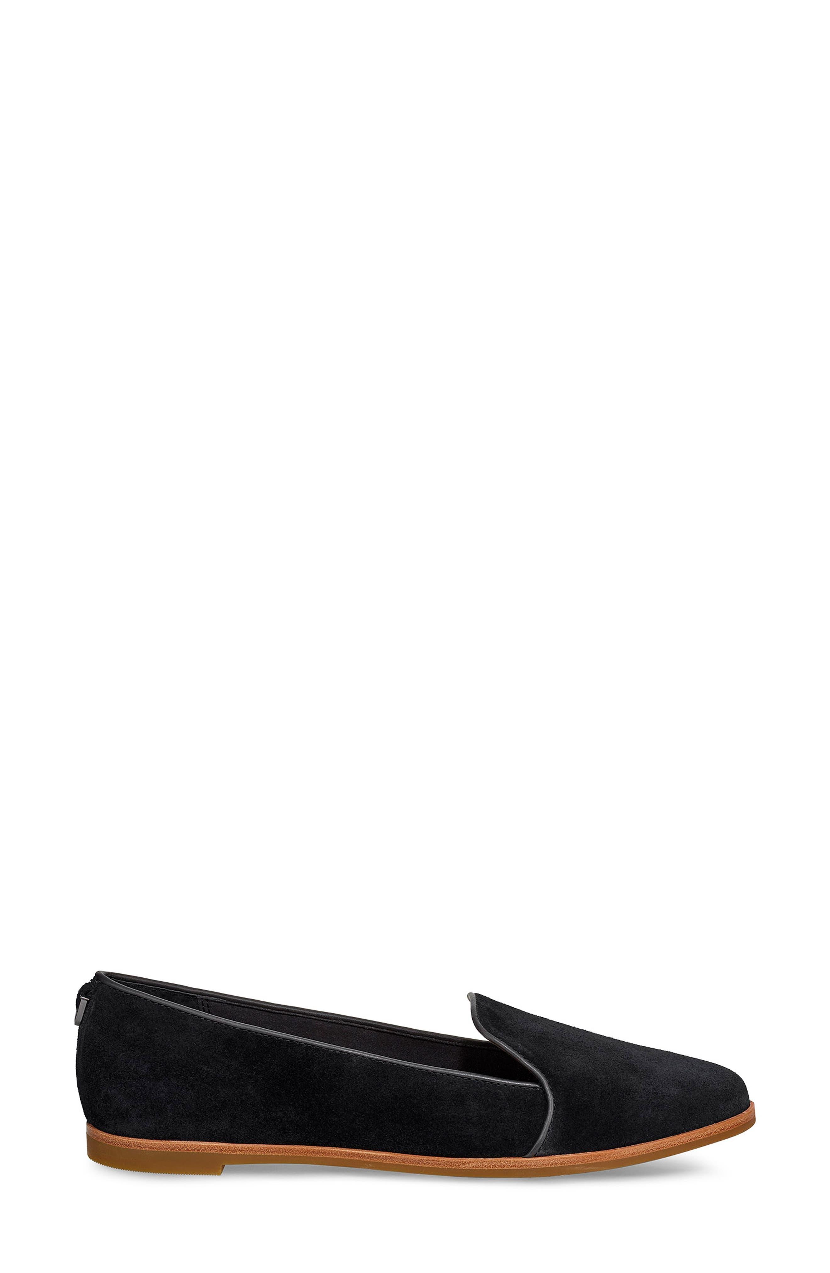 ,                             Bonnie Loafer Flat,                             Alternate thumbnail 3, color,                             BLACK SUEDE