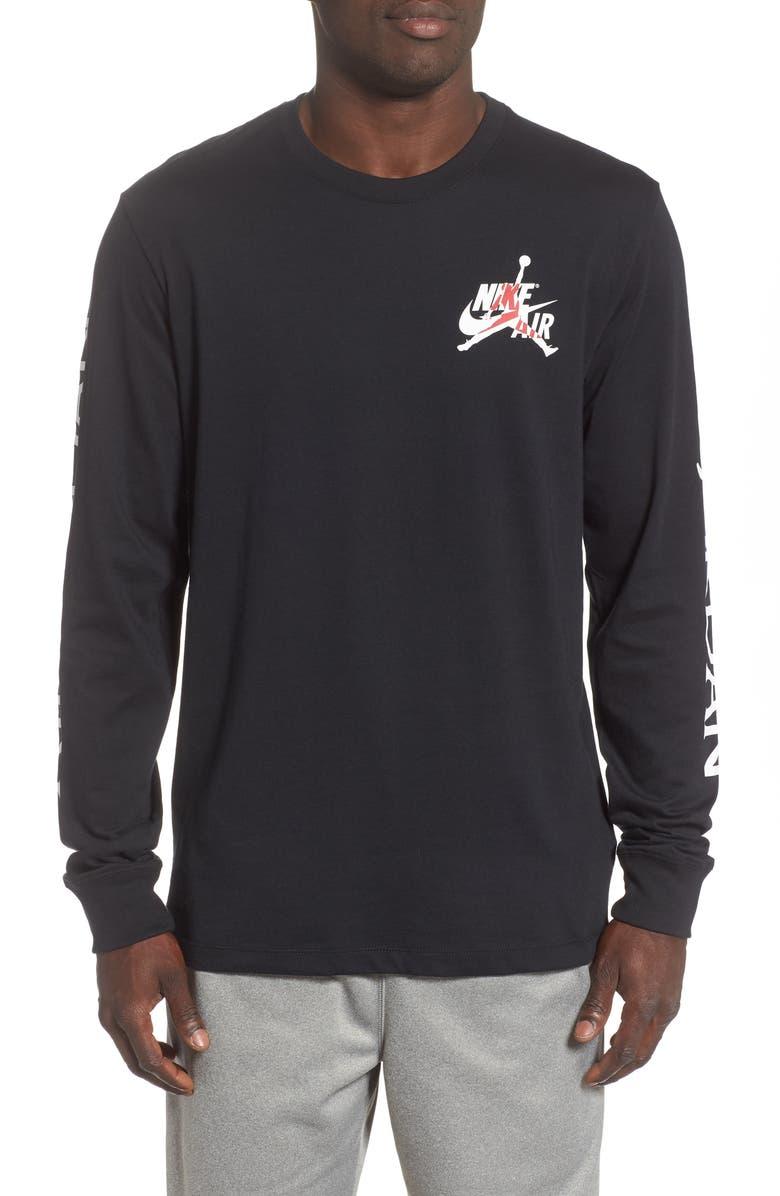 JORDAN Jumpman Long Sleeve T-Shirt, Main, color, BLACK/ WHITE