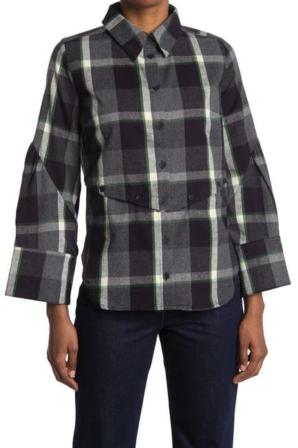 Image of CURRENT AIR Plaid Collared Long Sleeve Shirt
