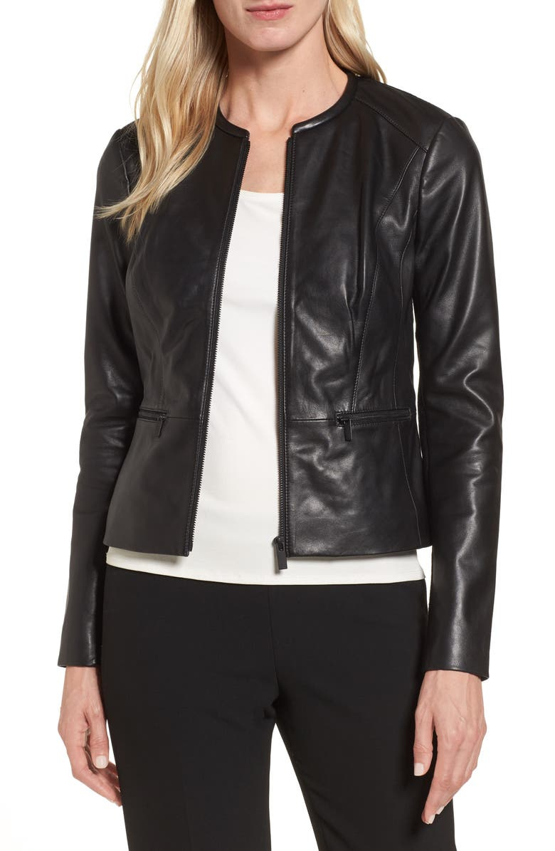 EMERSON ROSE Leather Jacket, Main, color, 001