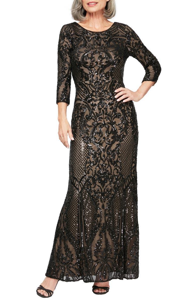 ALEX EVENINGS Sequin Embroidered Tulle Evening Dress, Main, color, BLACK/ NUDE